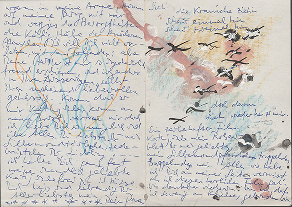 Paran G'Schrey to Katharina G'Schrey, [Berlin, 1956-1959], letter with colored drawings. Akademie der Künste, Berlin, Paran G'Schrey Archive, no. 34.